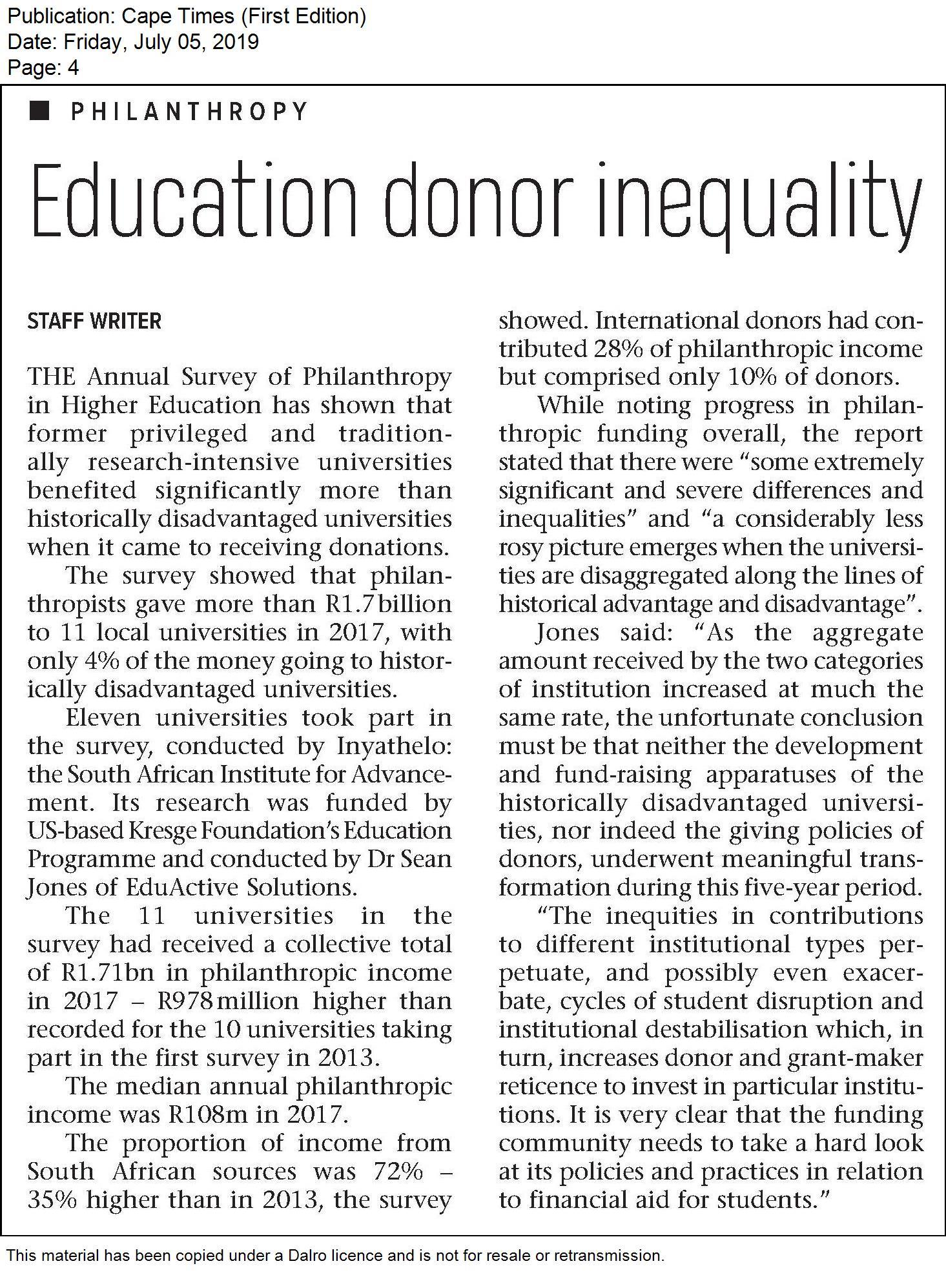 Education donor inequality